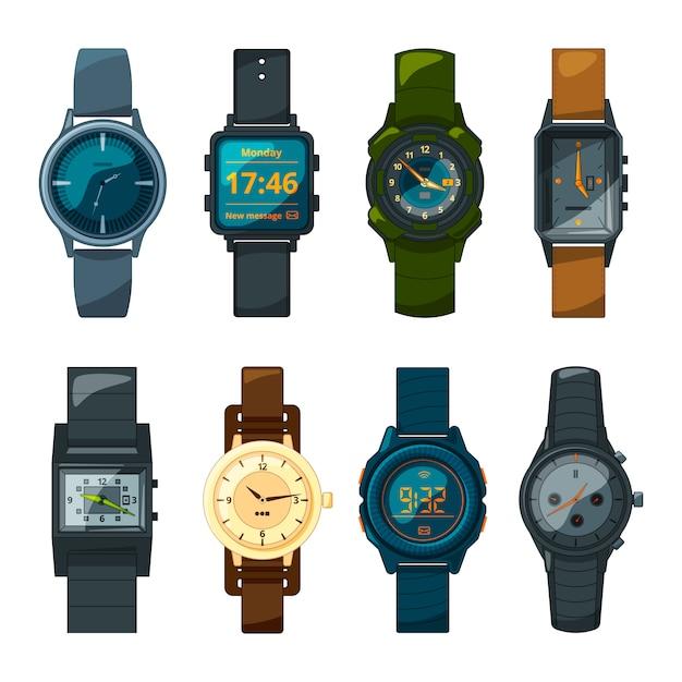 Набор разных наручных часов для мужчин и женщин Premium векторы