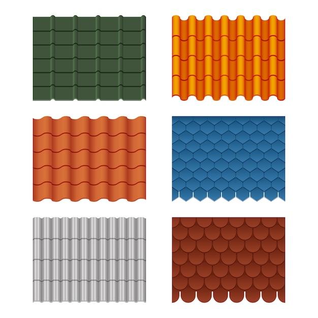 屋根瓦のセット Premiumベクター
