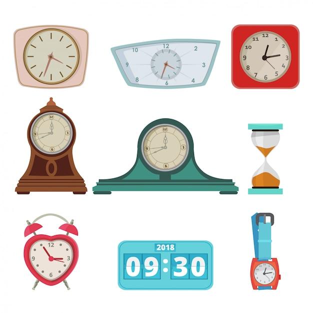 別の時計と手の時計のセットを白で隔離します。 Premiumベクター