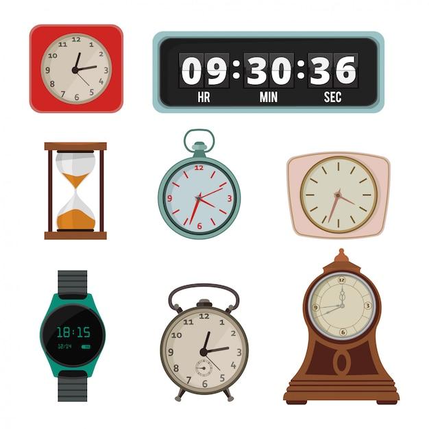 Набор красочных часов в плоском стиле Premium векторы