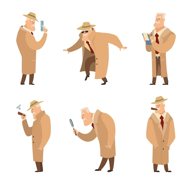 Милиционер или детектив розыск преступника. Premium векторы