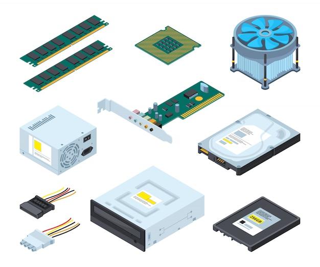 パーソナルコンピュータのさまざまなハードウェア部品およびコンポーネント。 Premiumベクター