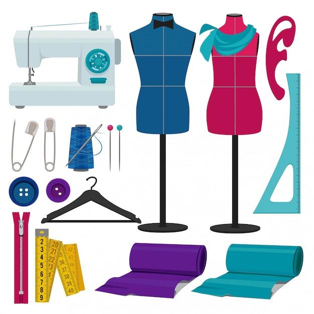 裁縫用具のある仕立て屋 Premiumベクター