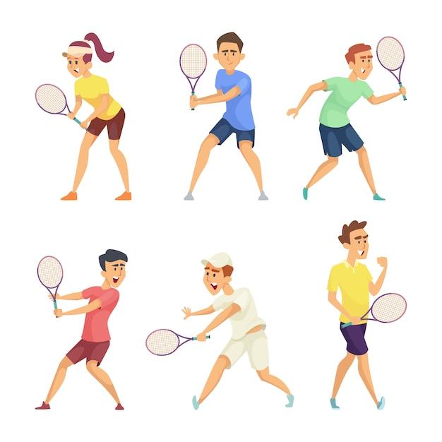 Теннисисты изолируют на белом фоне Premium векторы