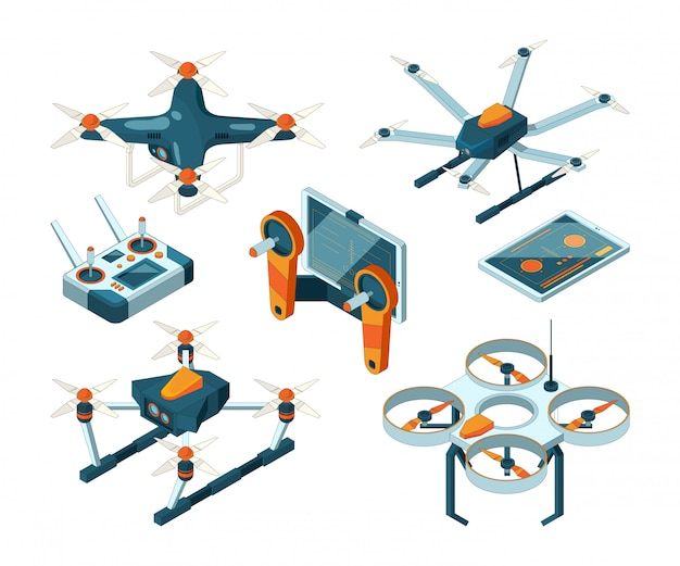 Различные изометрические дроны и квадрокоптеры Premium векторы