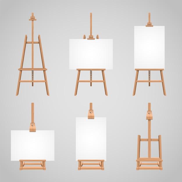 木製イーゼルの上に立ってセットキャンバス、図面のための木製の空白のスタンド Premiumベクター