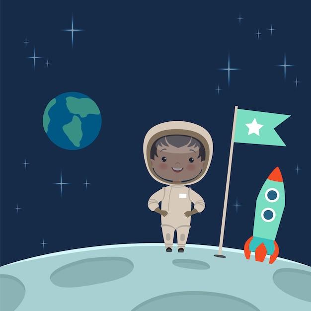 子供の宇宙飛行士が月面に立っています。 Premiumベクター