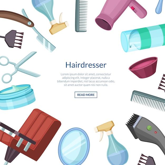 テキストのための場所で美容院理髪師漫画バナー Premiumベクター