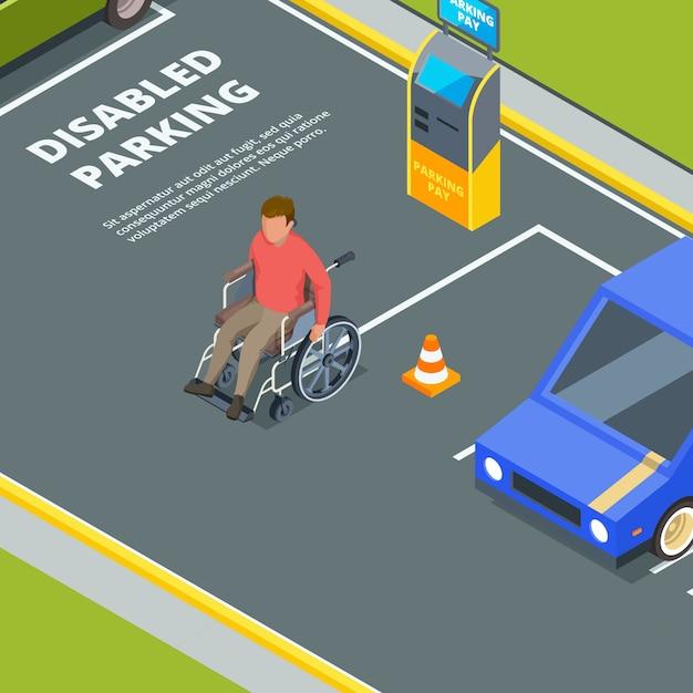 障害者用都市駐車場への入り口 Premiumベクター