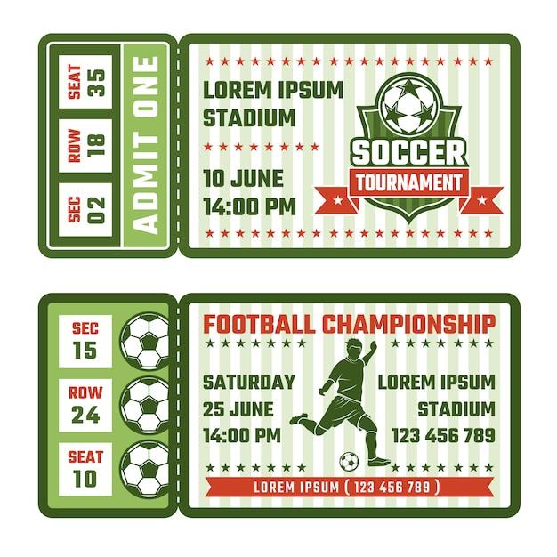 Билеты на футбольный матч Premium векторы