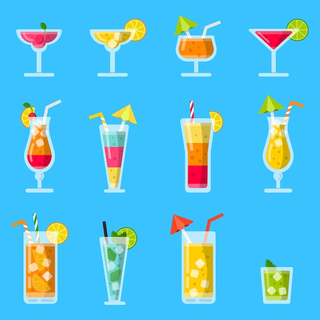 Пина колада, сок, мохито и другие различные алкогольные летние коктейли Premium векторы