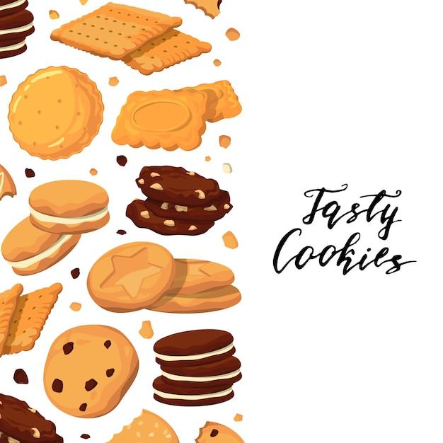 レタリングと漫画のクッキーの背景 Premiumベクター