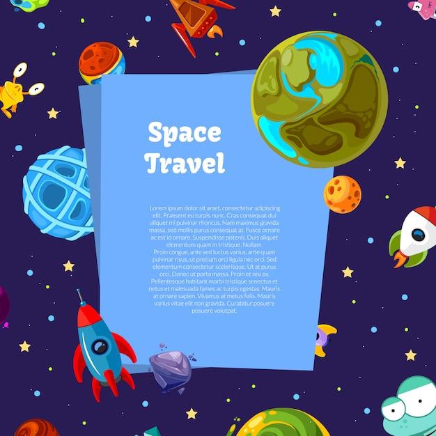 漫画宇宙の惑星と船の背景 Premiumベクター