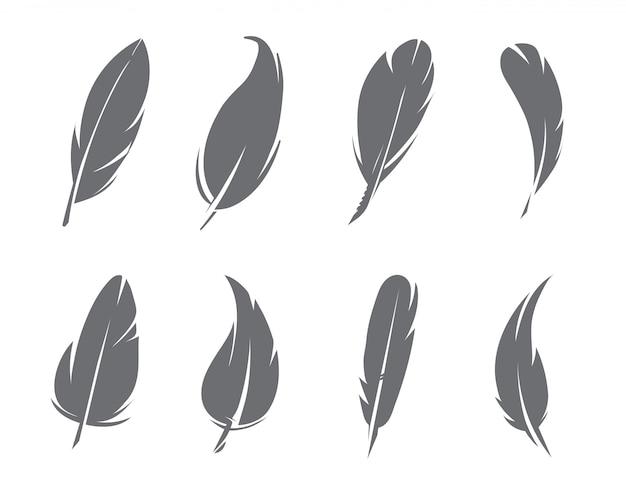モノクロの羽の分離 Premiumベクター