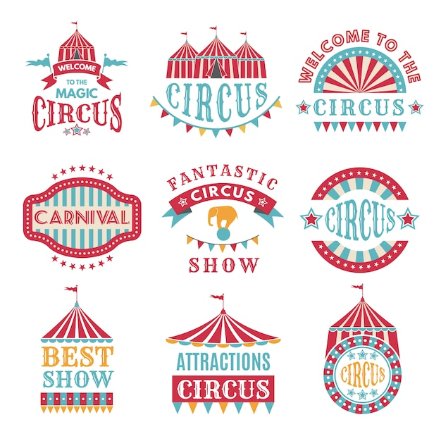 Ретро значки или логотип для карнавала и цирка Premium векторы