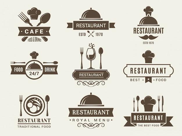 Набор логотипов и значков для ресторана Premium векторы