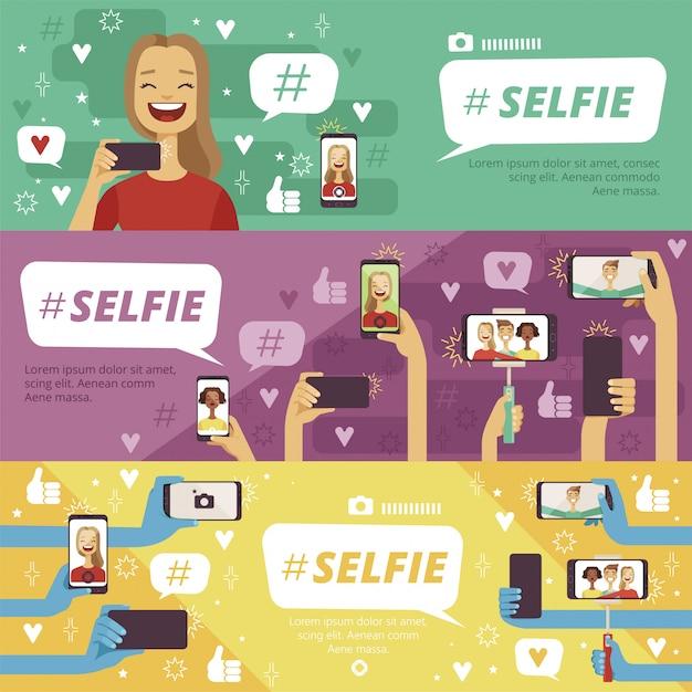 Горизонтальный баннер с людьми, которые делают селфи фото на своих смартфонах Premium векторы