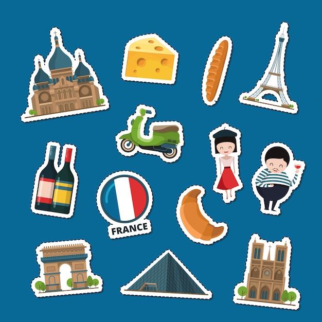 Франция наклейки Premium векторы