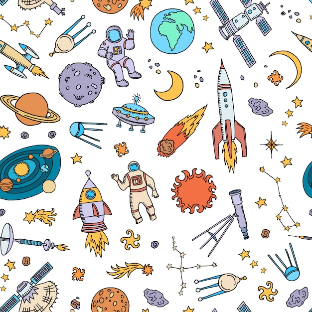 Рисованной космических элементов или шаблон Premium векторы
