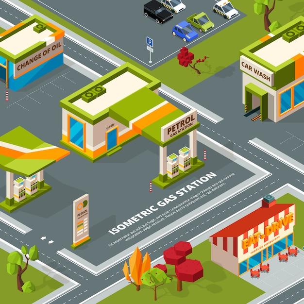 都市景観における燃料ステーション。 Premiumベクター