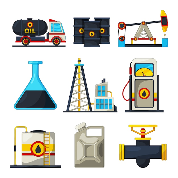 燃料およびガス産業の要素 Premiumベクター