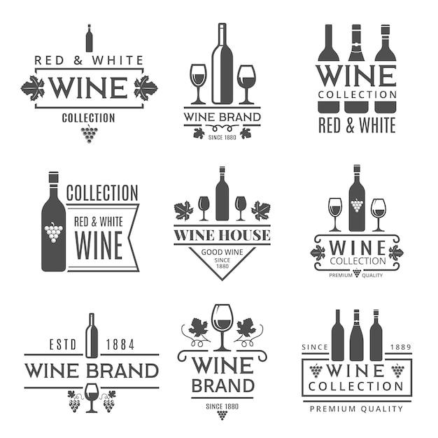 Различные винные бренды Premium векторы