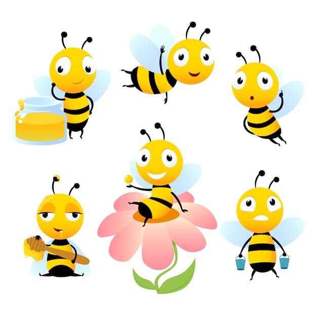 漫画の蜂。 Premiumベクター