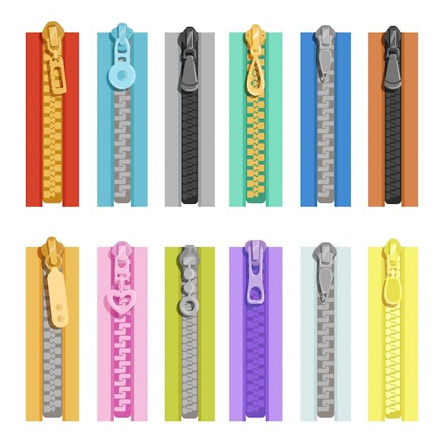 Цветные молнии. инструменты для одежды Premium векторы