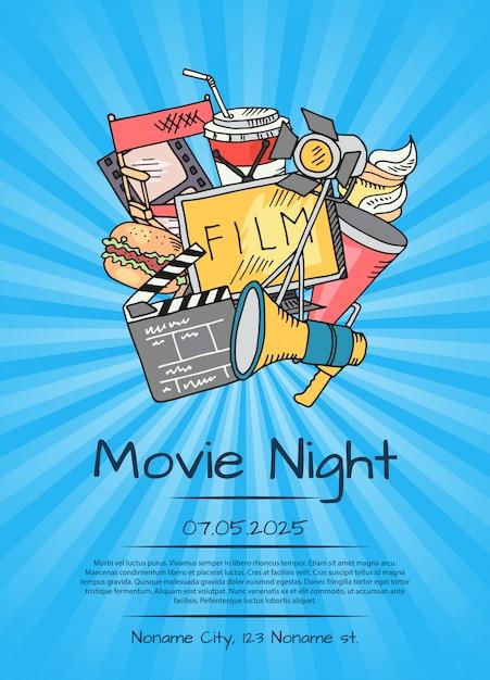 映画の夜や祭りの映画ポスター Premiumベクター