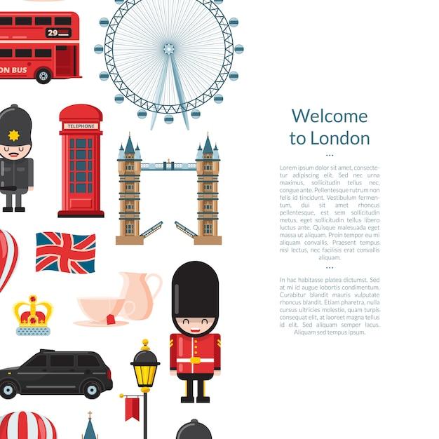 Мультфильм баннер достопримечательностей лондона Premium векторы