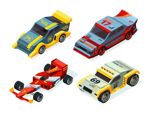 レースカーセット。等尺性レーシングカー。等尺性スポーツ写真 Premiumベクター