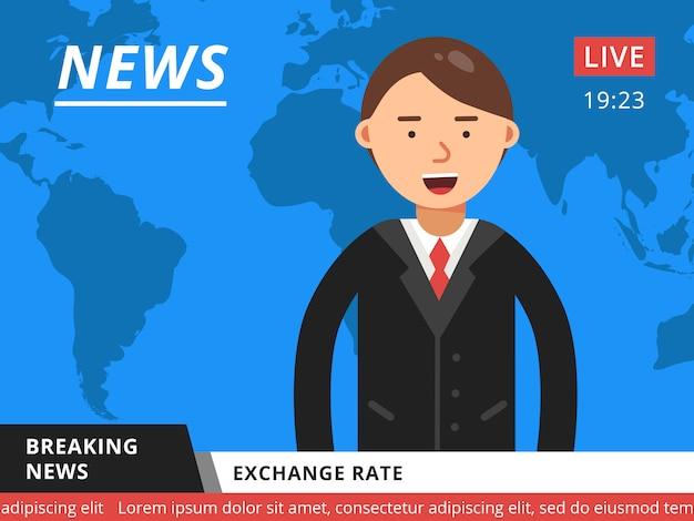 テレビのニュースキャスター。ホットニュースニュースベクトル図 Premiumベクター