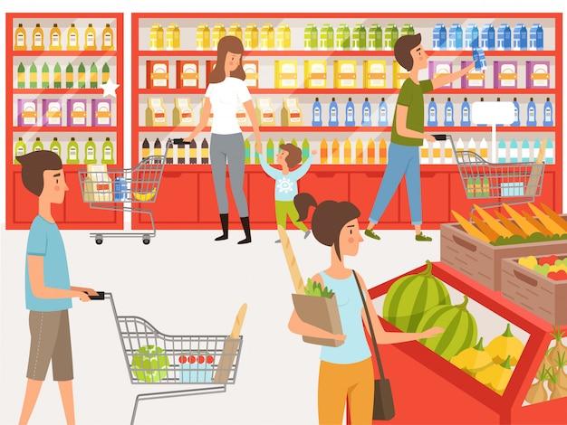 Покупатели в супермаркете. иллюстрации народов возле полок магазина Premium векторы
