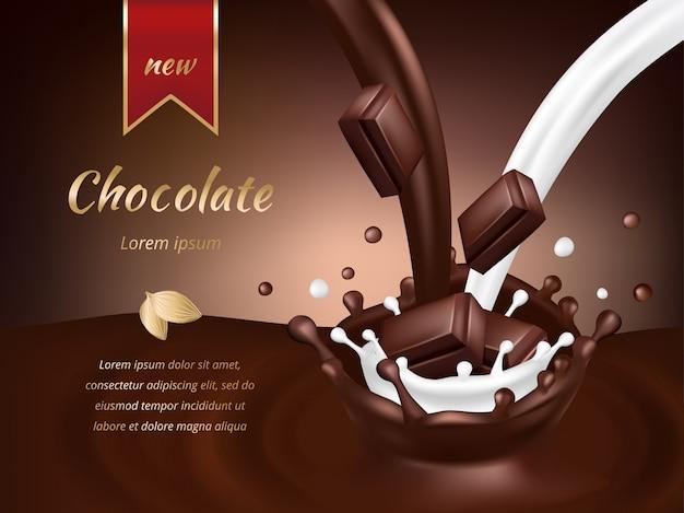 チョコレート広告テンプレート。現実的なチョコレートとミルクのベクトル図 Premiumベクター