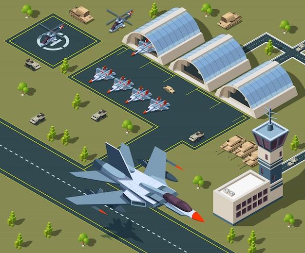 軍事空港等尺性。アメリカの航空機の低ポリ等尺性 Premiumベクター