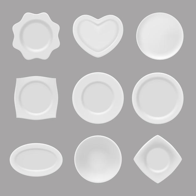 Реалистичные тарелки. векторные иллюстрации реалистичной посуды Premium векторы