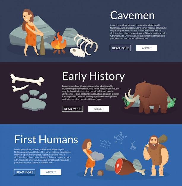 Векторные каменные века мультяшный пещерные люди баннеры иллюстрации Premium векторы