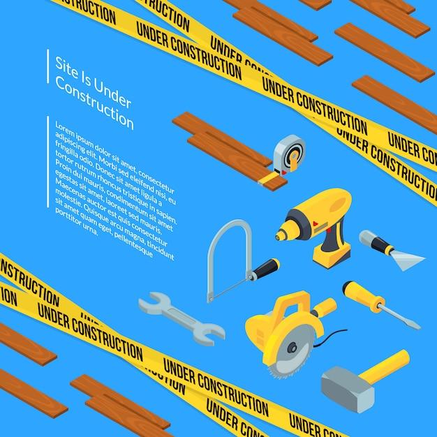 テキストテンプレートと等尺性の建設ツールの下のベクトル Premiumベクター