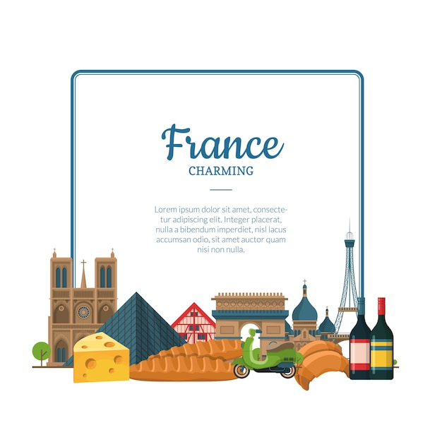 ベクトル漫画フランスの観光スポットやオブジェクト。パリのテキストフレーム Premiumベクター