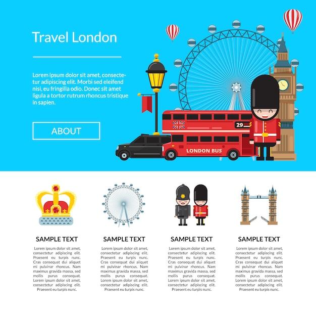 Путешествие по лондонскому шаблону. векторный мультфильм лондон элементы Premium векторы