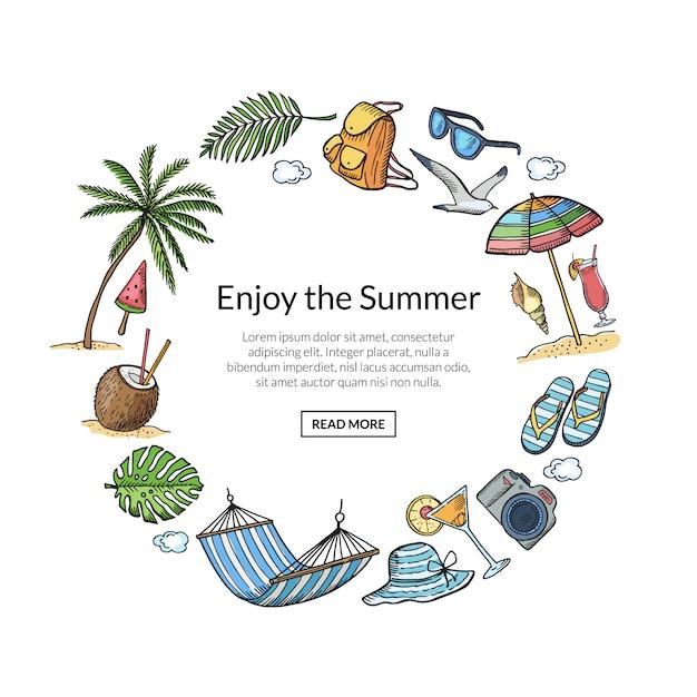 テキストテンプレートと夏旅行要素フレーム Premiumベクター