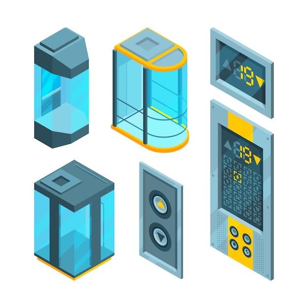 スチールボタン付き等尺性セットガラスエレベーター Premiumベクター