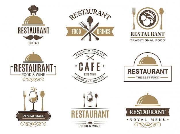 Старинные логотипы и различные символы для меню ресторана Premium векторы