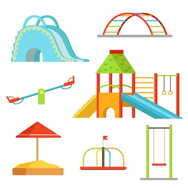 子供のための遊び場でのさまざまな機器ゲーム。ベクトルの背景 Premiumベクター