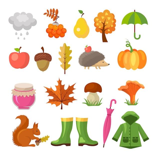 Осень цветные символы. набор иконок осень Premium векторы