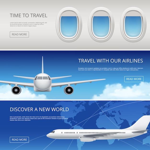 Небо самолет туристические баннеры. гражданская авиация, картинки с голубым небом и окнами самолетов крылья иллюстрации место для вашего текста Premium векторы