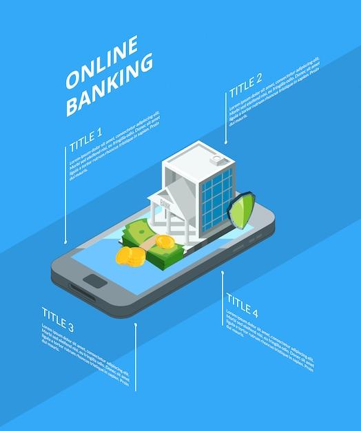 Изометрические денежный поток в банке иконки инфографики иллюстрации Premium векторы