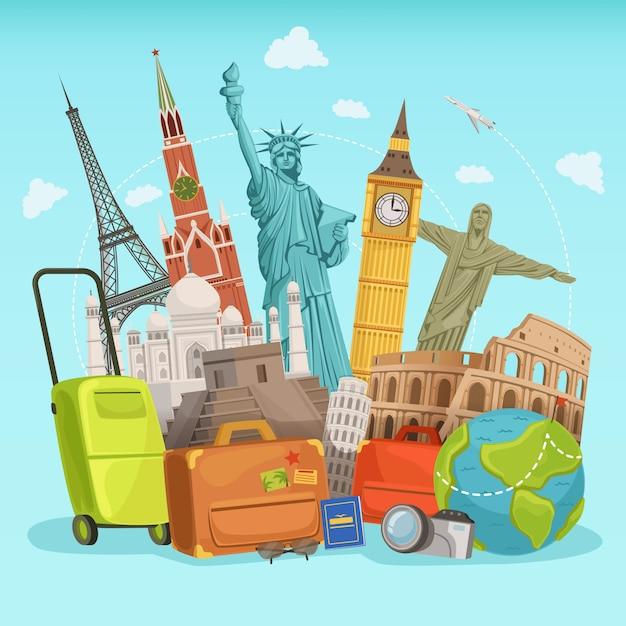 Дизайн плаката путешествия с различными мировыми достопримечательностями. векторные иллюстрации Premium векторы