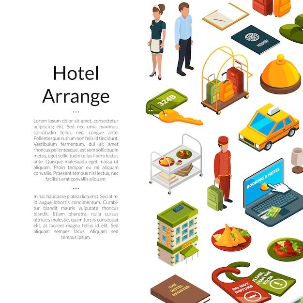 Изометрические отель иконки иллюстрация Premium векторы