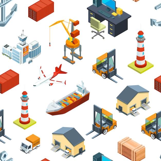 Изометрические морские и морские порты Premium векторы